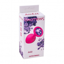 Анальная пробка Lola Toys - Emotions - Cutie Small - Pink - Dark Purple Crystal, розовая