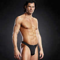 Танга из микрофибры Blue Line Performance Microfiber Thong, мужские, черные, L/XL