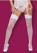 Чулки Obsessive - S800 White Stockings, белые, L/XL